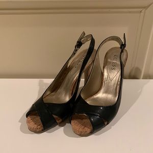Guess black high heel platform pumps (size 7)